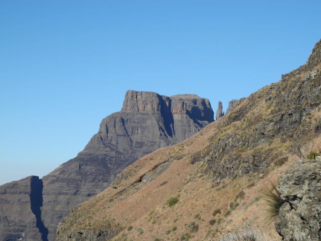 rock walls and golden hills